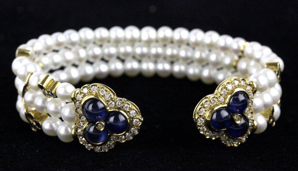 FINE 18k Gold Diamond Sapphire Pearl Cuff Bracelet - 2
