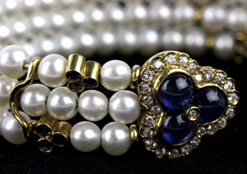 FINE 18k Gold Diamond Sapphire Pearl Cuff Bracelet - 3