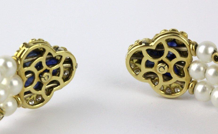 FINE 18k Gold Diamond Sapphire Pearl Cuff Bracelet - 5