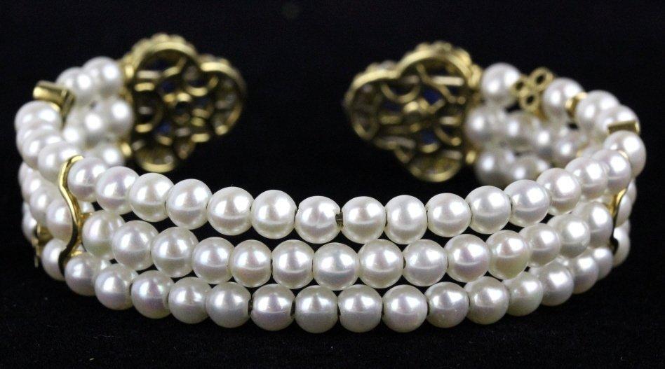 FINE 18k Gold Diamond Sapphire Pearl Cuff Bracelet - 6