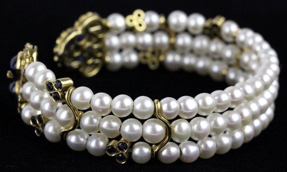 FINE 18k Gold Diamond Sapphire Pearl Cuff Bracelet - 7