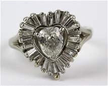 14K 1 1/3 Ct TW Heart Shape Diamond Ring sz 7.5