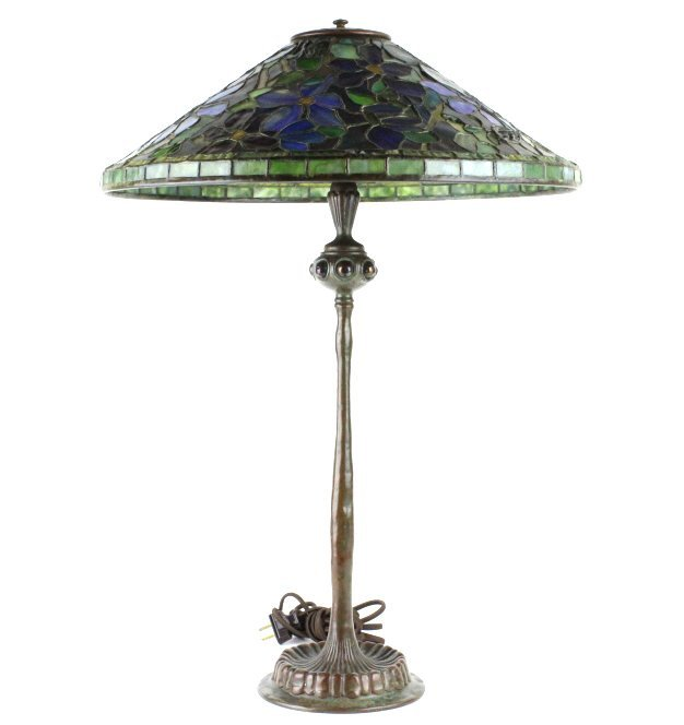Tiffany Studios Stained Glass Clematis Lamp RARE