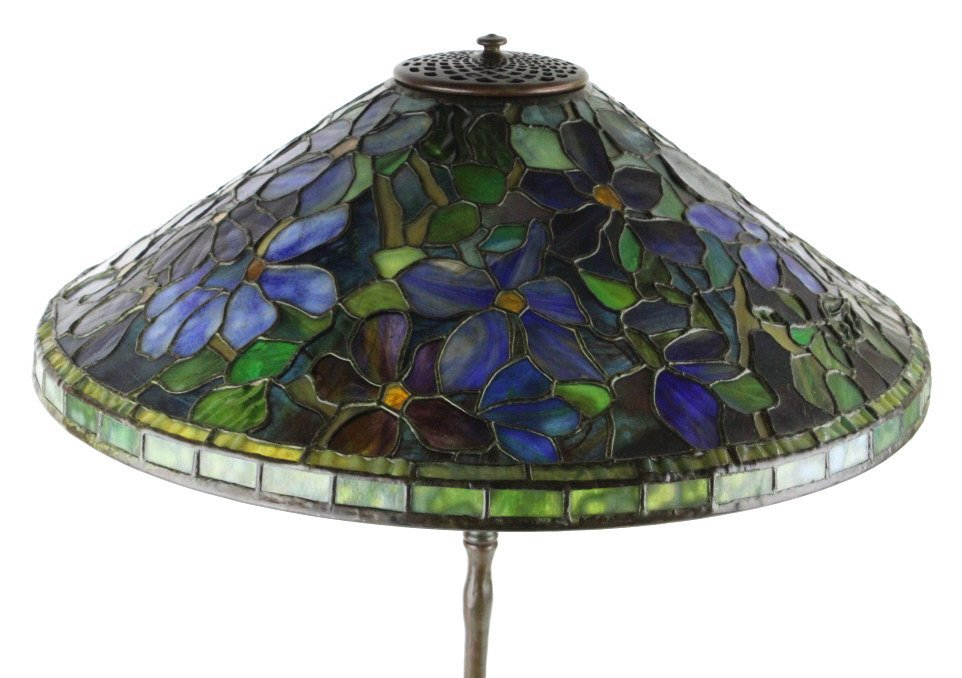 Tiffany Studios Stained Glass Clematis Lamp RARE - 2