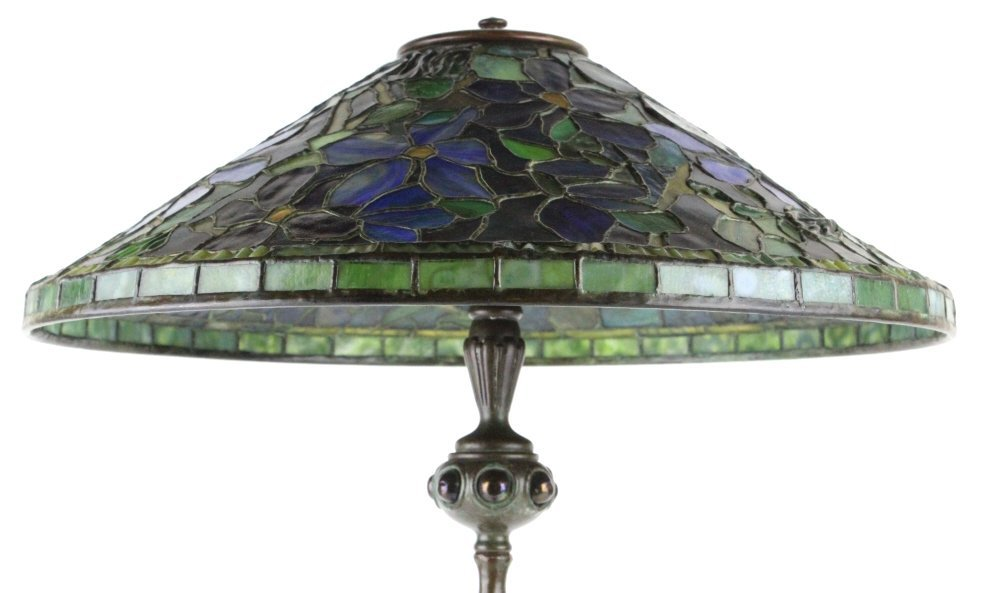 Tiffany Studios Stained Glass Clematis Lamp RARE - 3