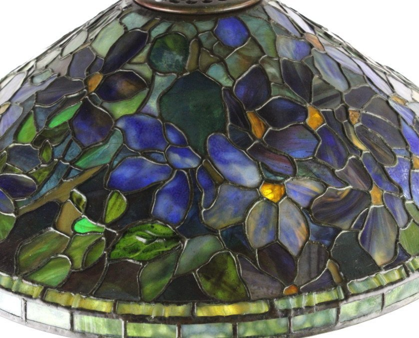 Tiffany Studios Stained Glass Clematis Lamp RARE - 4