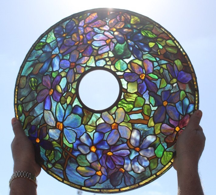 Tiffany Studios Stained Glass Clematis Lamp RARE - 9