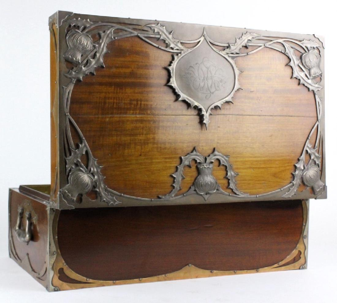 Important Sterling Silver Copper Wood Humidor Box