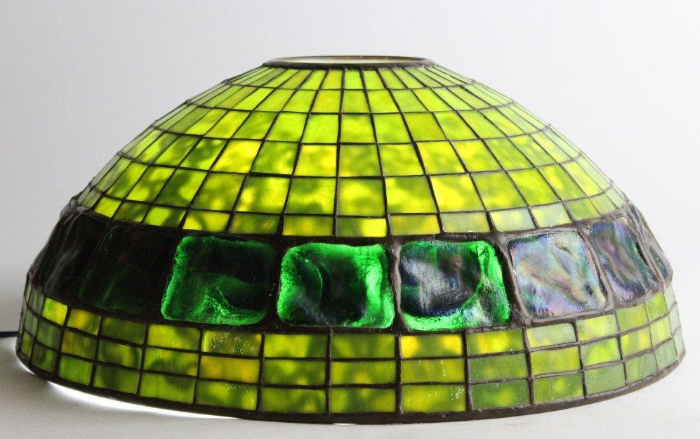 "TIFFANY STUDIOS Green Turtle Back Lamp Shade 16"""