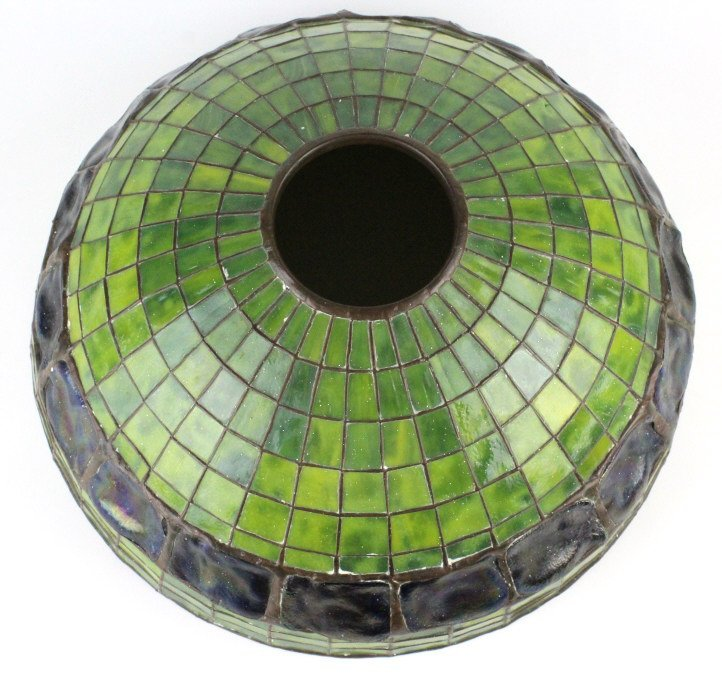 "TIFFANY STUDIOS Green Turtle Back Lamp Shade 16"" - 3"