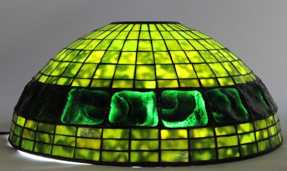 "TIFFANY STUDIOS Green Turtle Back Lamp Shade 16"" - 4"