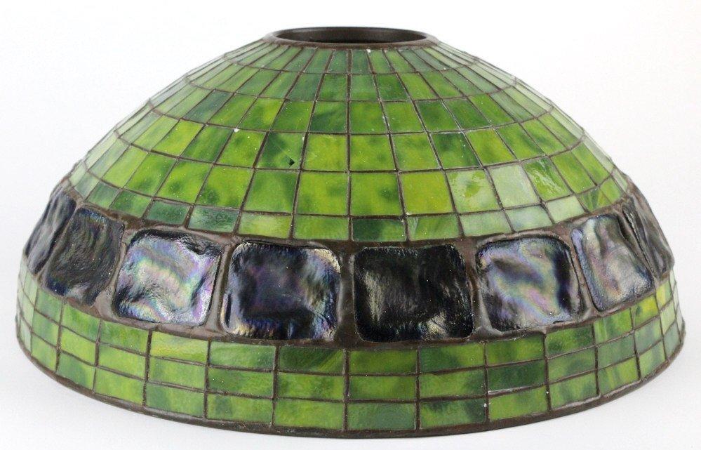 "TIFFANY STUDIOS Green Turtle Back Lamp Shade 16"" - 7"