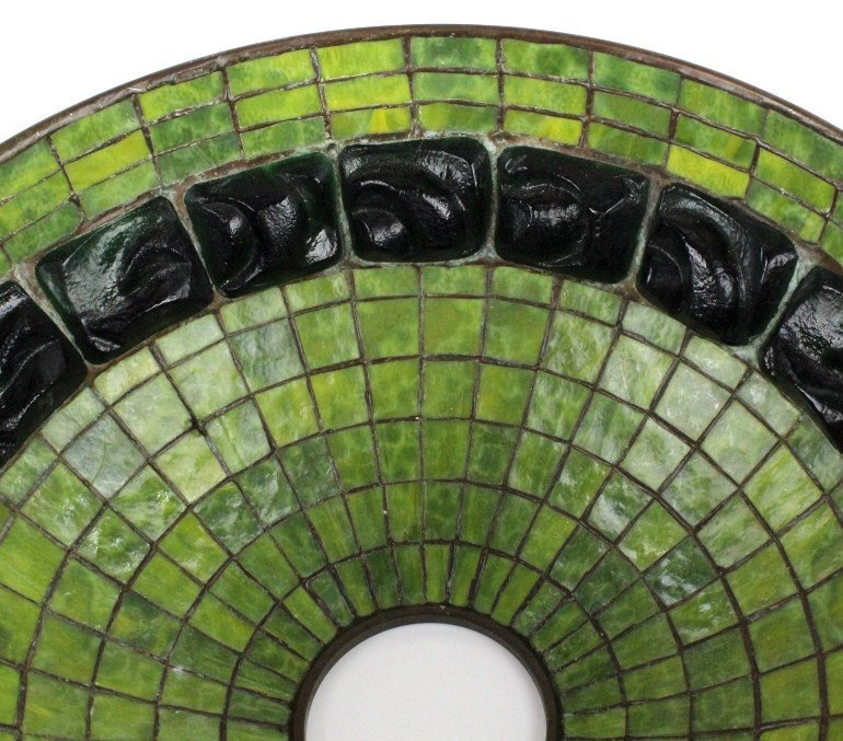 "TIFFANY STUDIOS Green Turtle Back Lamp Shade 16"" - 9"
