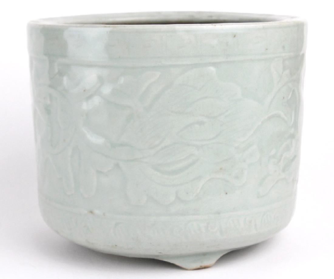 Antique Chinese Celadon Glazed Pottery Censor Pot