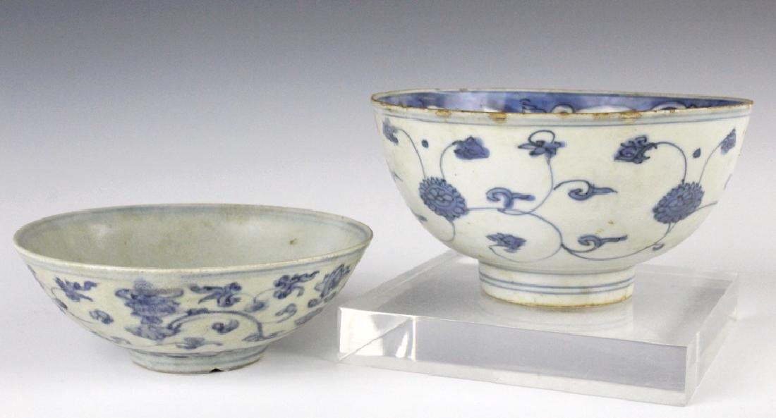 PAIR Antique Chinese Blue & White Porcelain Bowls