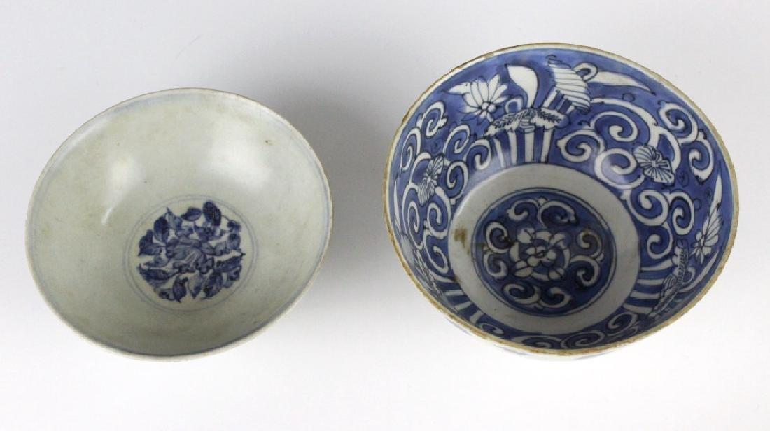 PAIR Antique Chinese Blue & White Porcelain Bowls - 2