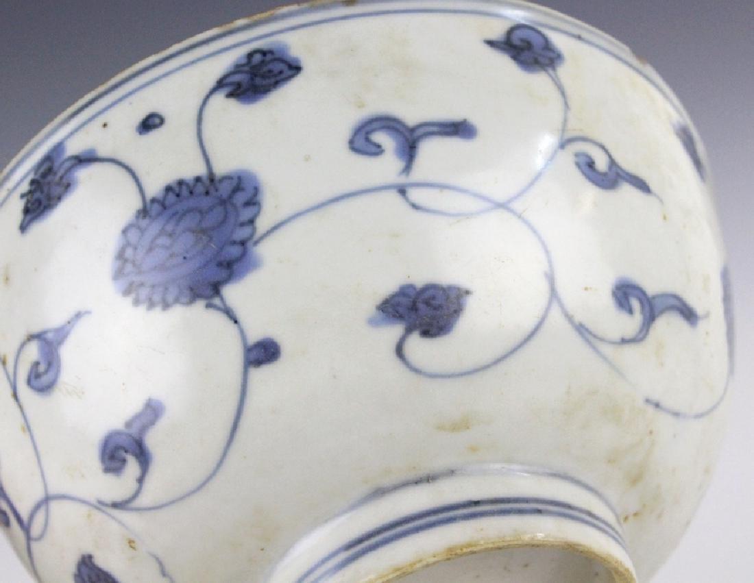 PAIR Antique Chinese Blue & White Porcelain Bowls - 3