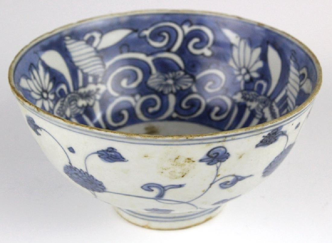 PAIR Antique Chinese Blue & White Porcelain Bowls - 4
