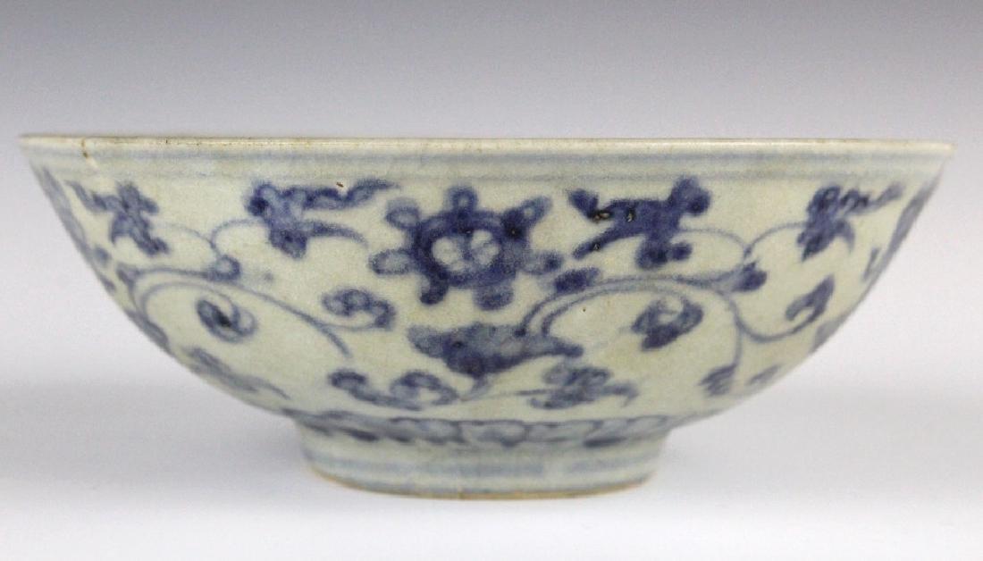 PAIR Antique Chinese Blue & White Porcelain Bowls - 6