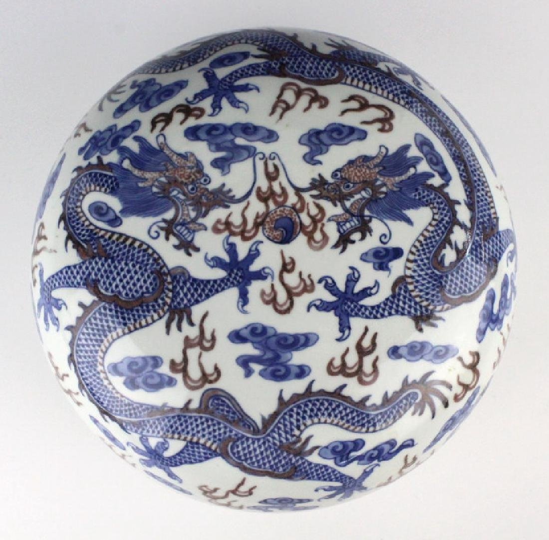 Chinese Porcelain Blue Red Dragon Round Lidded Box