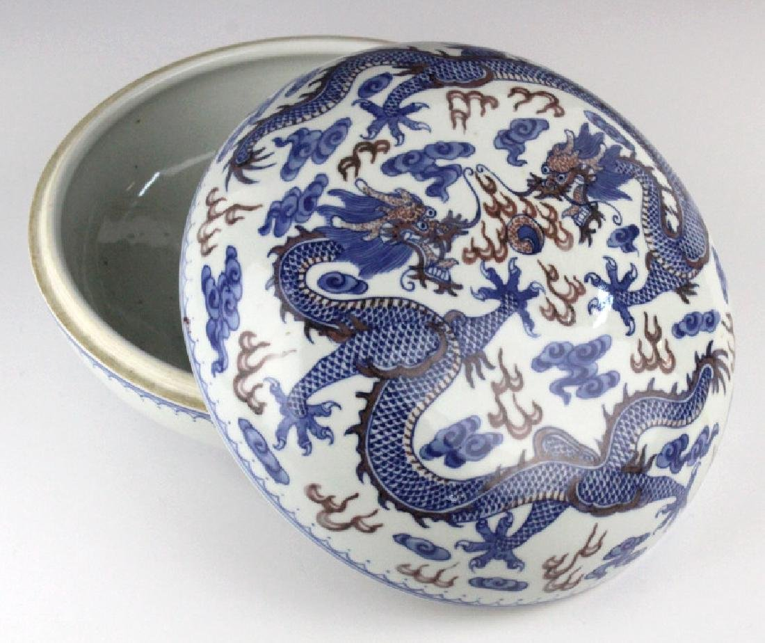 Chinese Porcelain Blue Red Dragon Round Lidded Box - 4