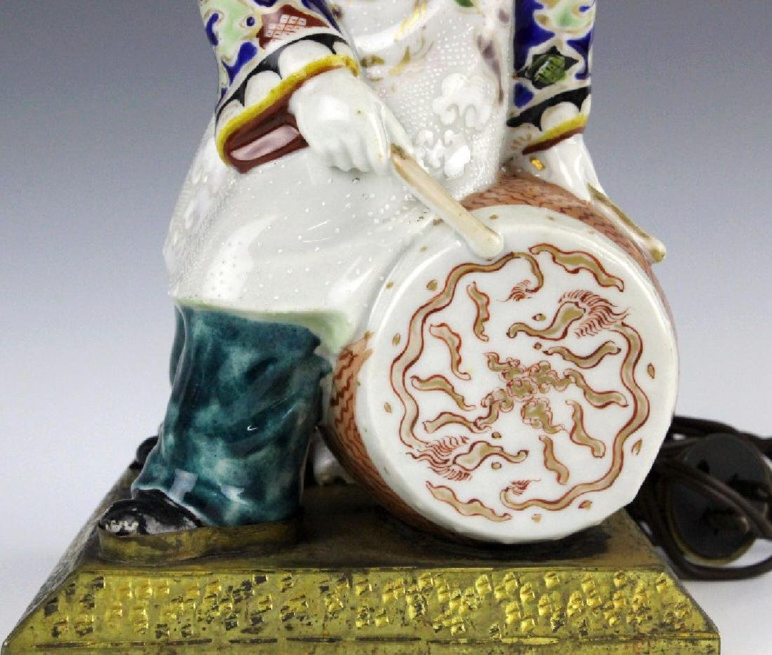 Chinese Porcelain Drummer Boy Statue Table Lamp - 3
