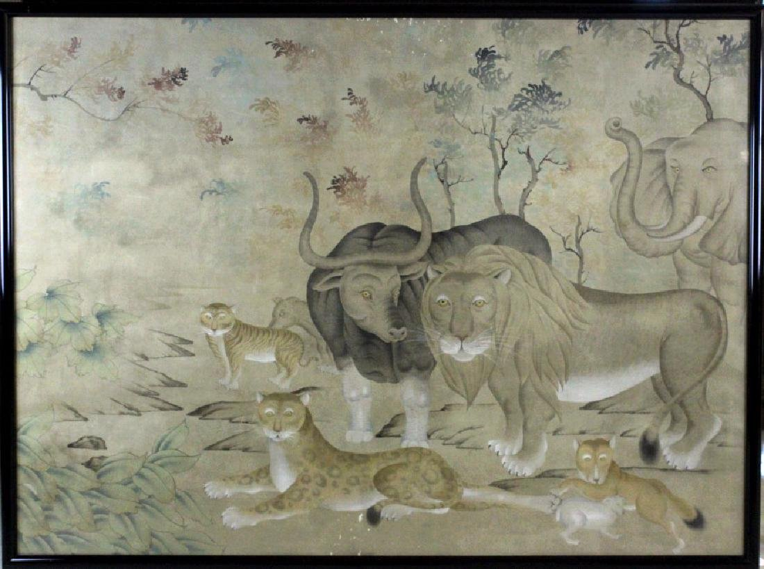 LRG Chinese Peaceable Kingdom Style Silk Painting