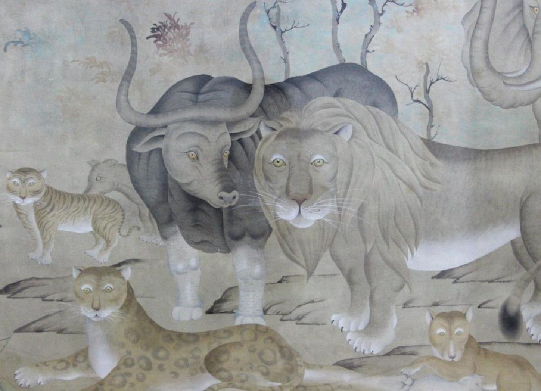LRG Chinese Peaceable Kingdom Style Silk Painting - 2