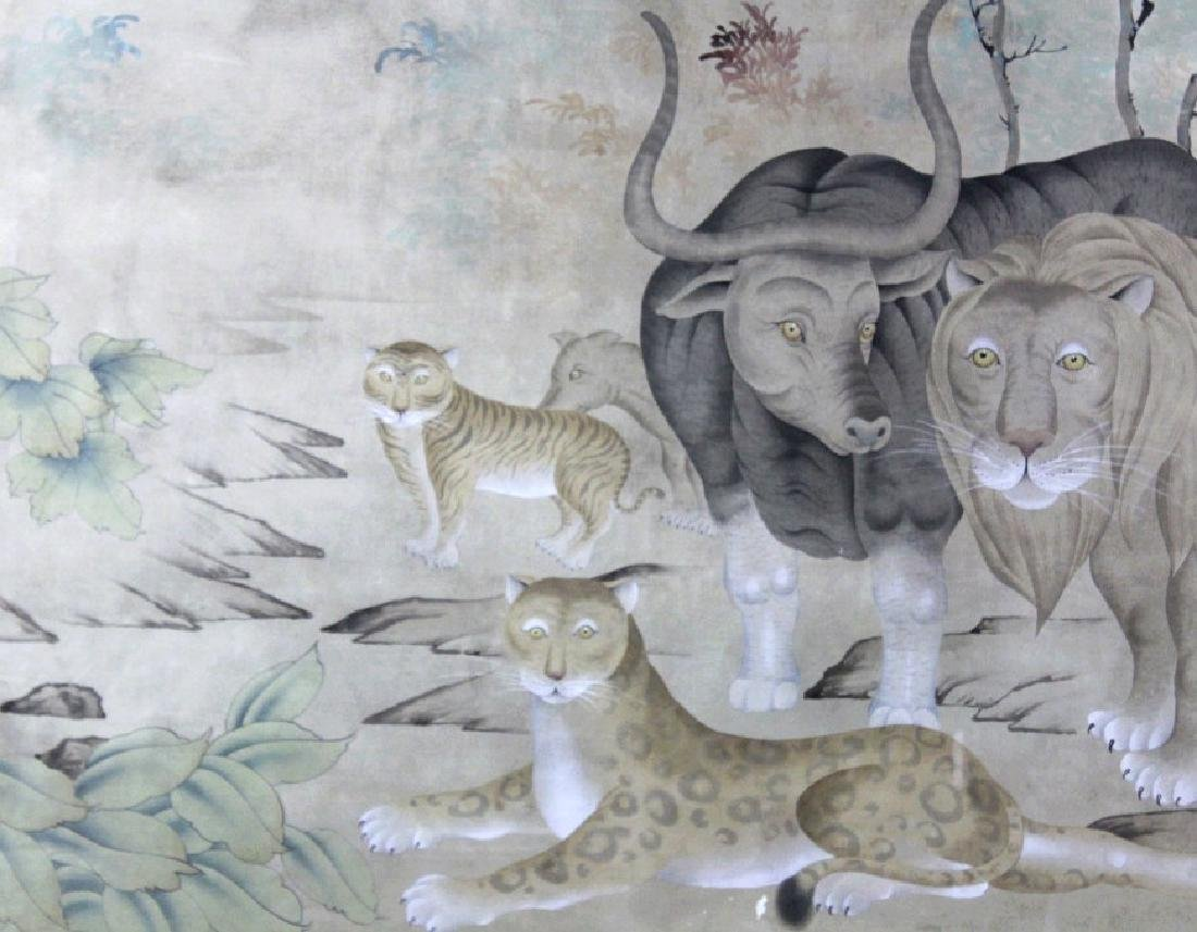 LRG Chinese Peaceable Kingdom Style Silk Painting - 3