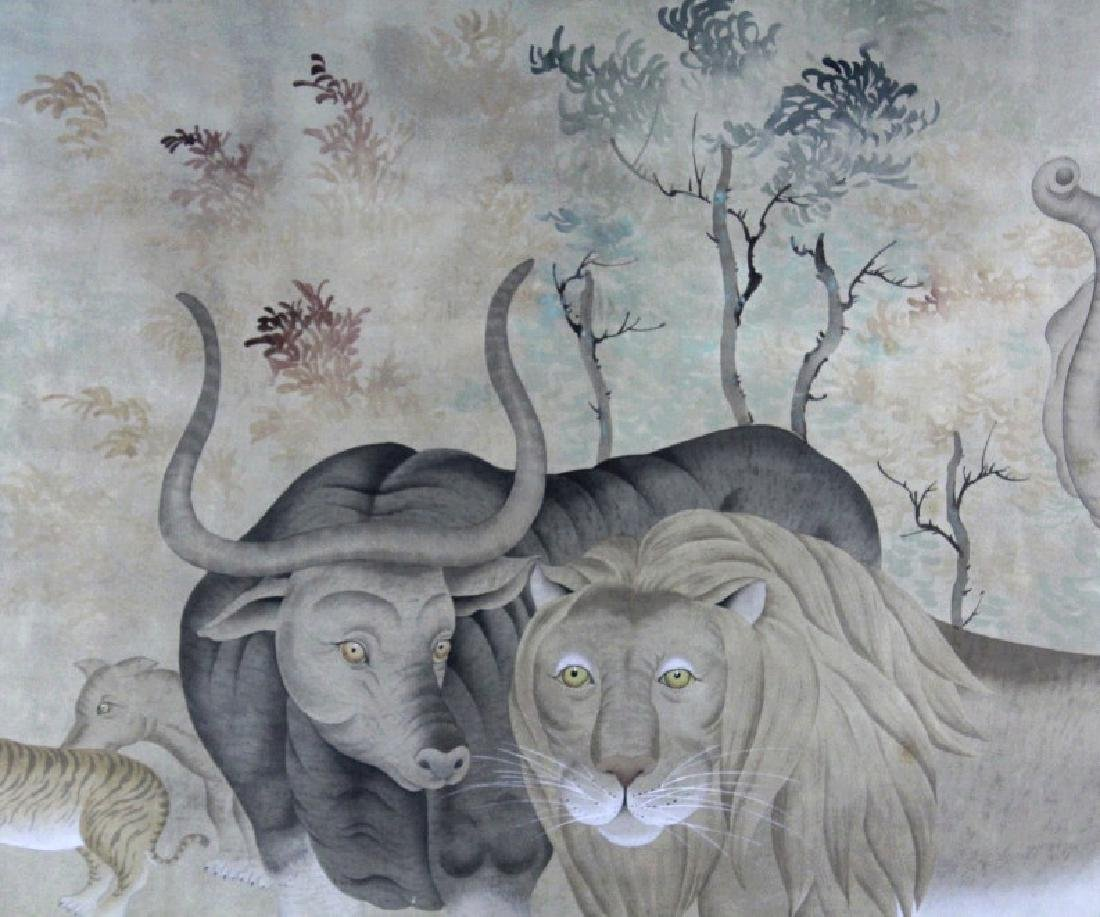 LRG Chinese Peaceable Kingdom Style Silk Painting - 4