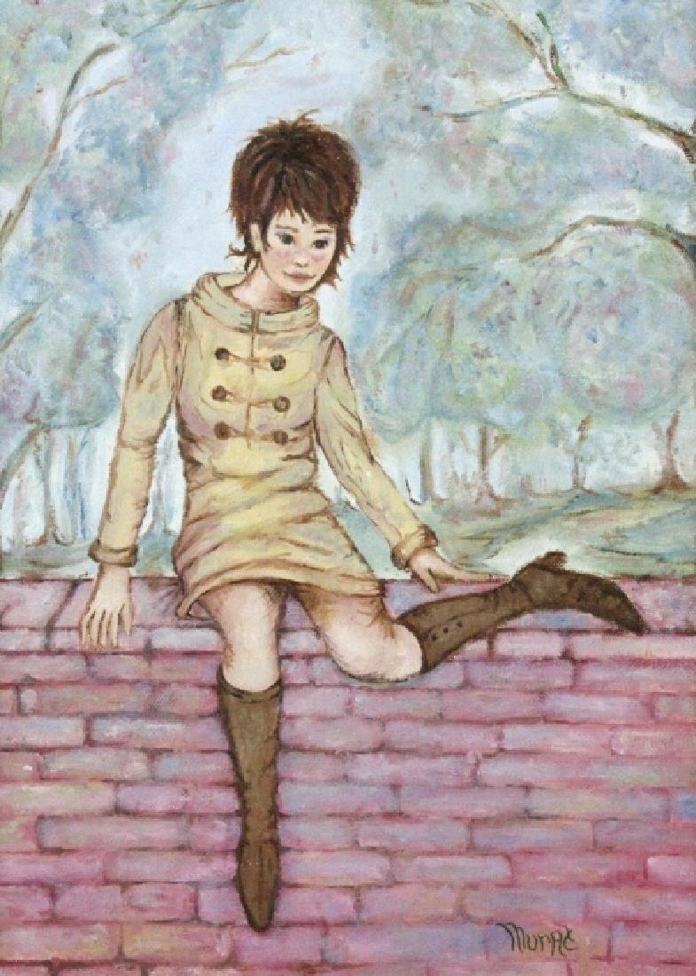 JUDITH MURAT Mod Girl on Wall Oil Painting LISTED