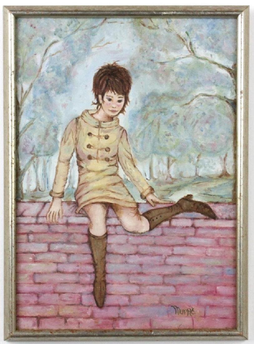 JUDITH MURAT Mod Girl on Wall Oil Painting LISTED - 2