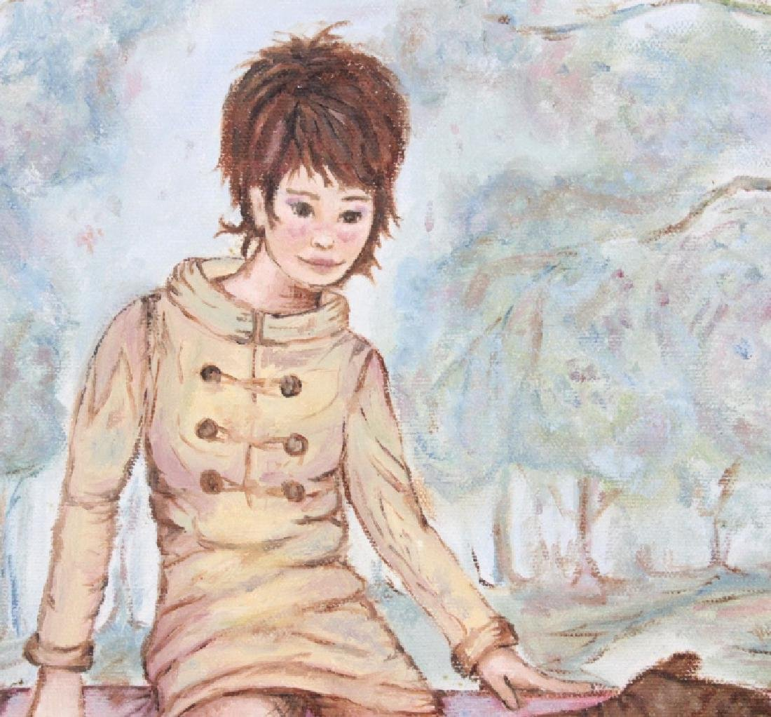 JUDITH MURAT Mod Girl on Wall Oil Painting LISTED - 4