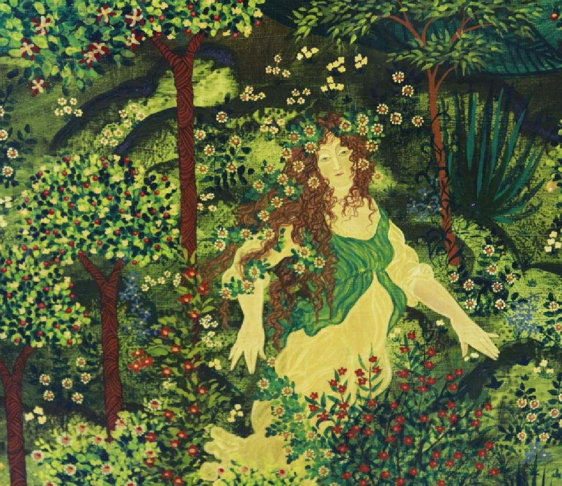 VAN ENO Whimsical Girl In Garden Painting LISTED - 3