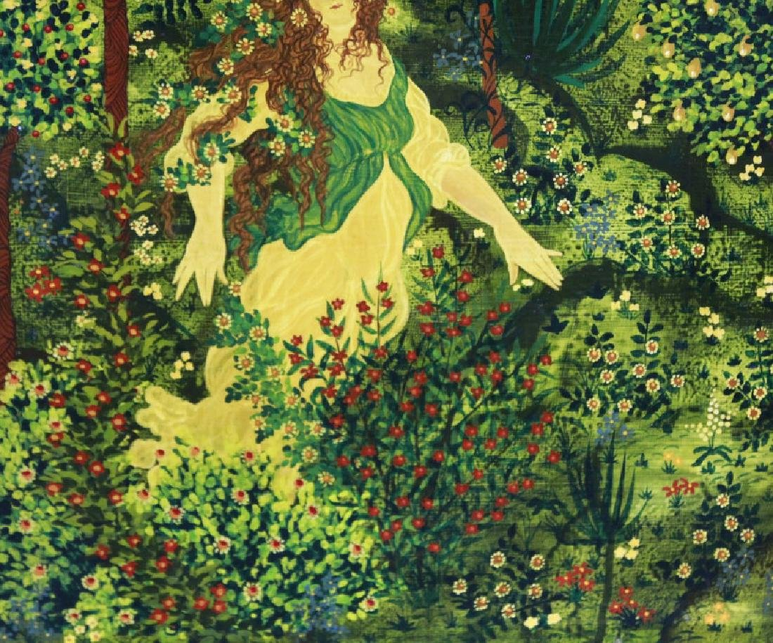 VAN ENO Whimsical Girl In Garden Painting LISTED - 7
