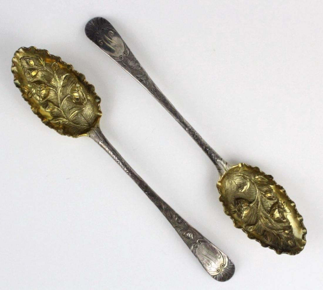 2 Sterling Silver 1782 English Berry Spoons w/ Box