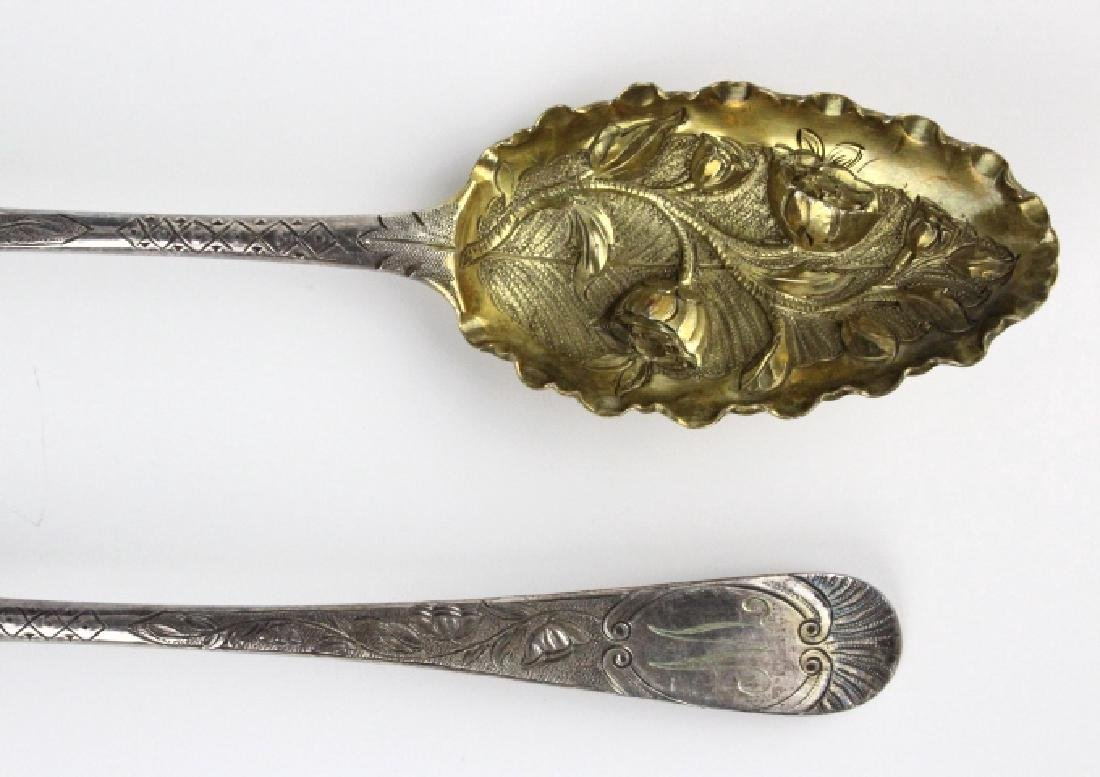 2 Sterling Silver 1782 English Berry Spoons w/ Box - 2