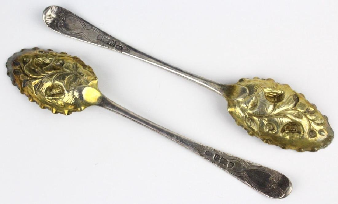 2 Sterling Silver 1782 English Berry Spoons w/ Box - 3