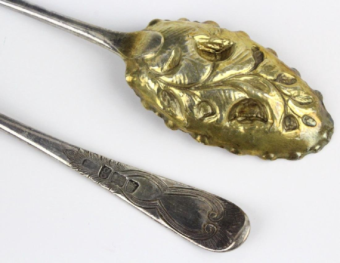 2 Sterling Silver 1782 English Berry Spoons w/ Box - 4