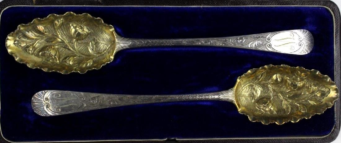 2 Sterling Silver 1782 English Berry Spoons w/ Box - 5