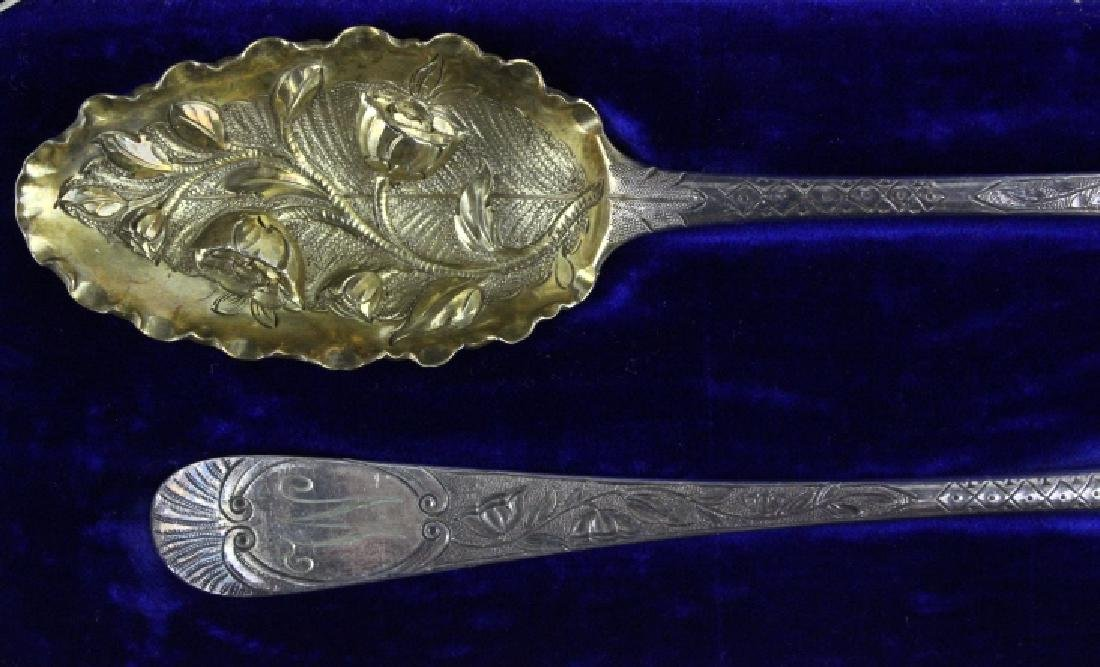 2 Sterling Silver 1782 English Berry Spoons w/ Box - 6