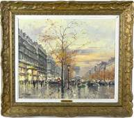 Jean Salabet French Landscape Oil Canvas Painting