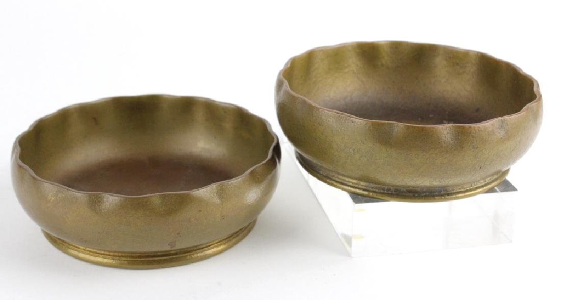 2 x Tiffany Studios Bronze Scalloped Finger Bowls
