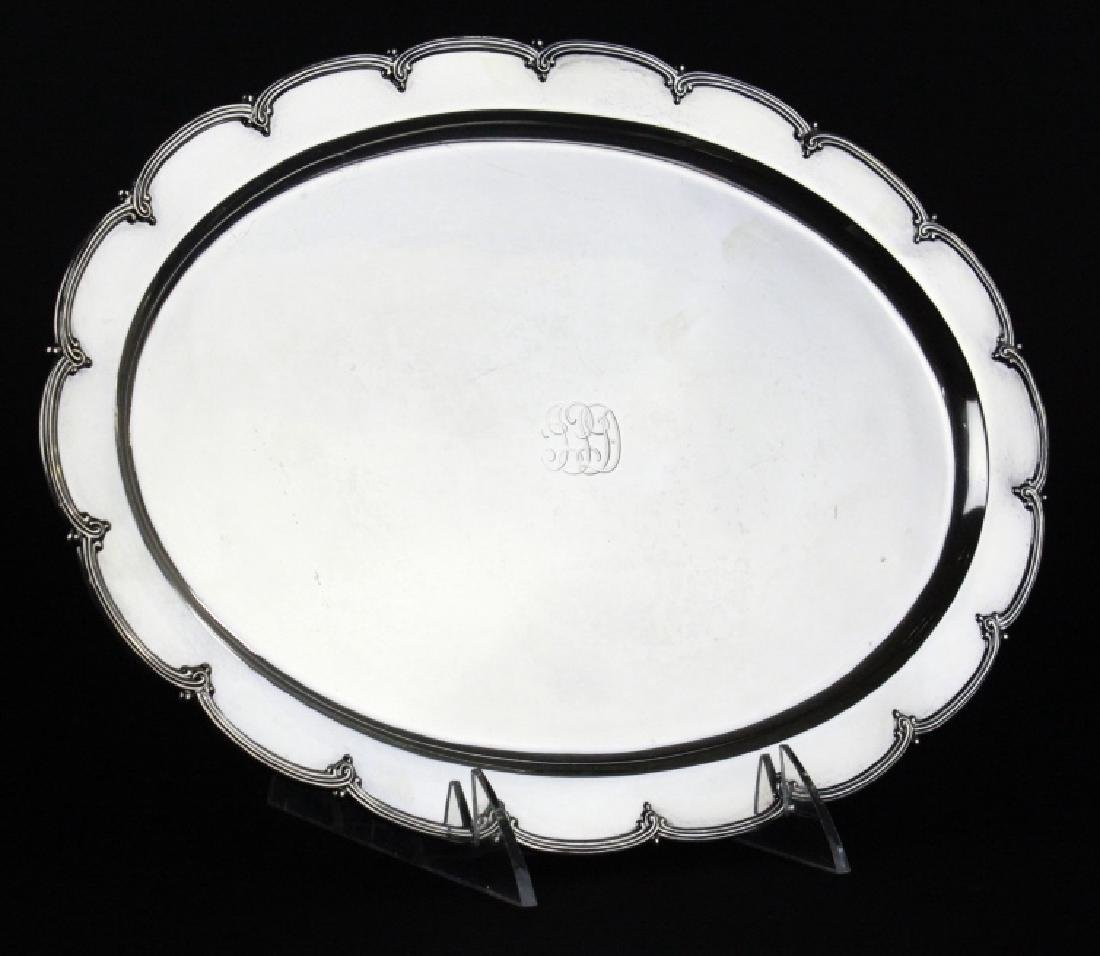 """Tiffany & Co Makers Sterling Silver 12"""" Tray 436g - 5"""