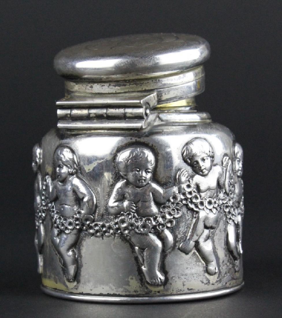 Rare TIFFANY & CO Sterling Silver Cherub Ink Well - 3