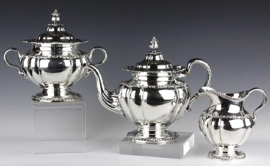 Tiffany & Co Silver Plate Teapot Sugar Creamer Set