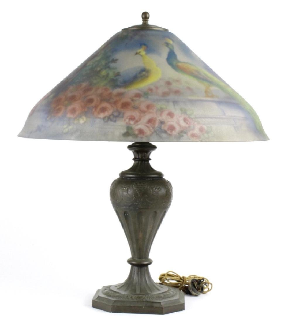 Pairpoint Reverse Painted Peacock Table Lamp