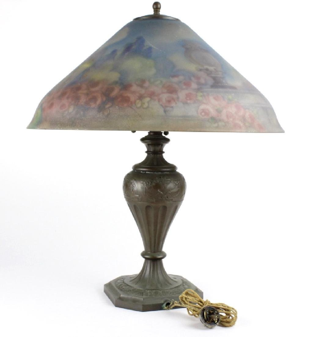 Pairpoint Reverse Painted Peacock Table Lamp - 7