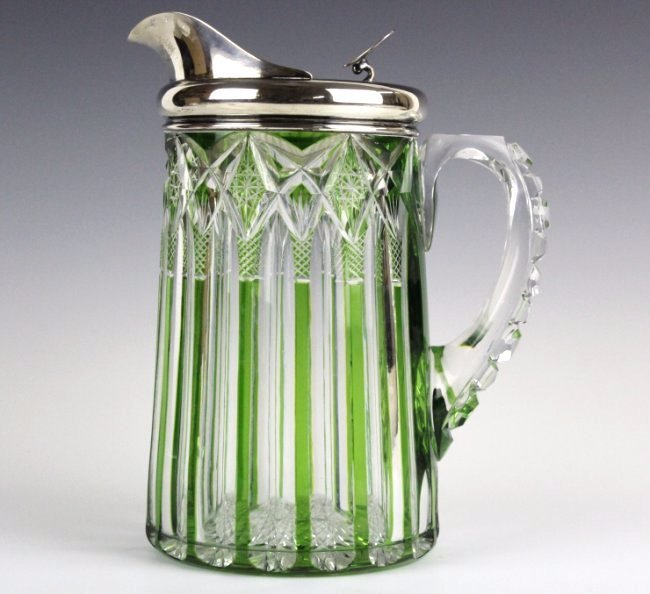 Dorflinger Chester Green Cut To Clear Pitcher RARE