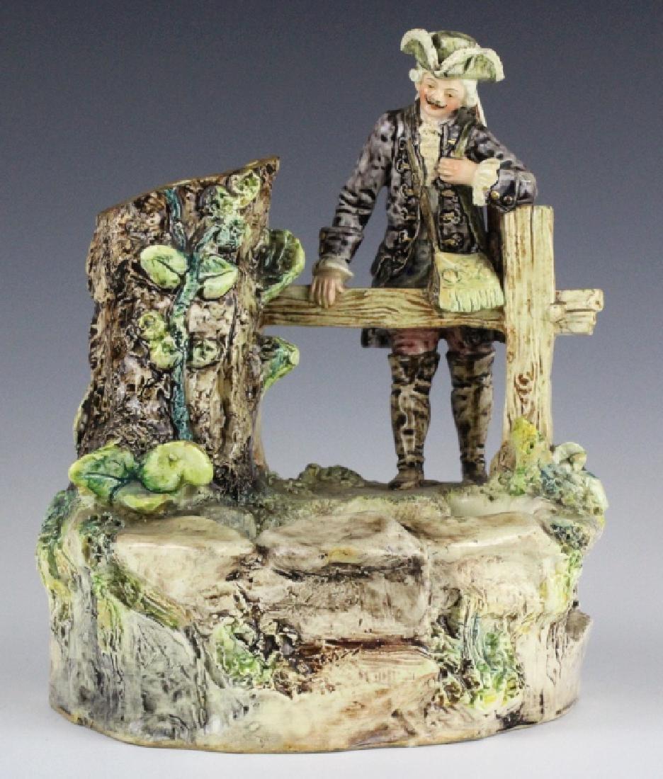 Antique French Figural Majolica Man w Pond Vase